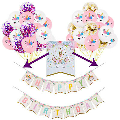 Unicorn Party Decorations Happy Birthday Banner Unicorn Balloons Party Supplies