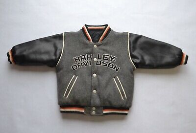 Harley Davidson Reversible Jacket Sz 2T Varsity Quilted Style Wool
