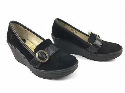 089cd1e3aa1 FLY LONDON YOND 771 Black Suede Wedge Loafer High Heels 38 7.5 - 8 ...