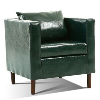 Green Polished Wax Bonded Leather Accent Tub Armchairs Sofa Chairs Seater Padded