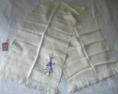 Nwt Hangzhou Rosycouds Pure Silk Scarf Creamy White Hand Embroidered Blue Rose