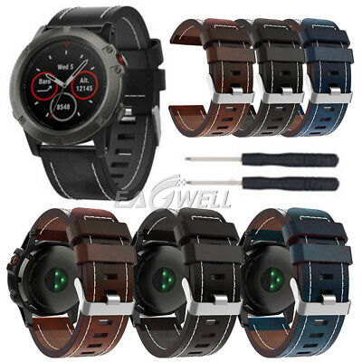 GENUINE LEATHER WATCH Band Strap For Garmin Fenix 3/Fenix 5 5X/5S Plus 3 HR