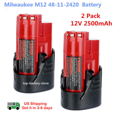 2 Pack New 12V 2.5Ah Lithium-ion Battery for Milwaukee M12 48-11-2420 48-11-240