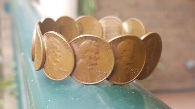 VINTAGE Circulated, U.S. LINCOLN WEAT  Mint Copper Penny Coin   Bracelet 1944-58