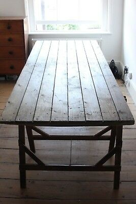 Vintage Industrial Large Rustic Trestle Refectory Dining Wedding Table