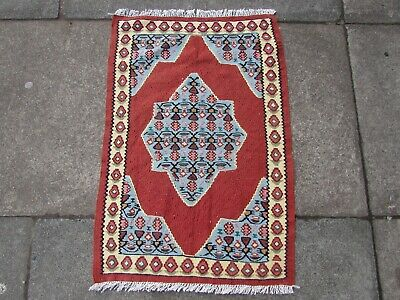 Old Traditional Hand Made Persian Oriental Wool Red Blue Small Kilim 77x52cm