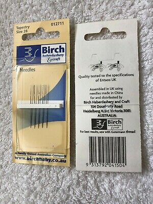 Birch tapestry embroidery needles, 5 needles. size 28. new unused