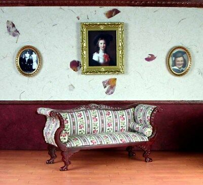 """Mahogany Striped Couch MUSEUM QUALITY DOLLHOUSE FURNITURE 1:12 or 1"""" BESPAQ"""