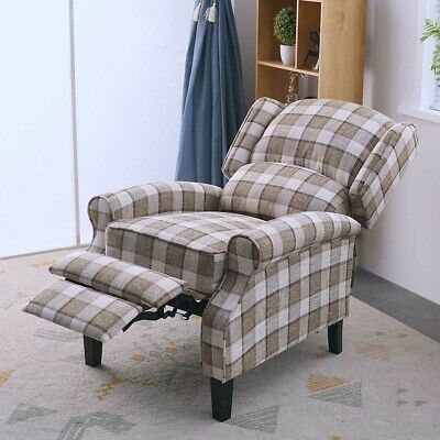 Vintage Wing Back Check Lounge Beige Fabric Armchair Sofa Recliner Chair Seat