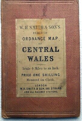 Map CENTRAL WALES by W.H. SMITH 4 miles to inch c.1890