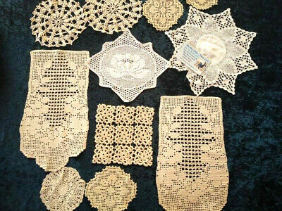 Bulk white to Cream Hand Crochet Centre/Doilies Vint Cond Use or craft? Lot #5