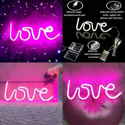 "Neon Love Signs Light 13.70"" LARGE LED Art Dorm Decor Sign Wall Table For Valent"