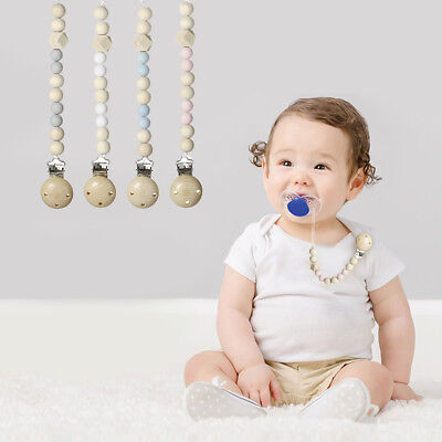 Baby Pacifier Clip Wooden Chain Soother Nipple Holder Infant Feeding Toys New