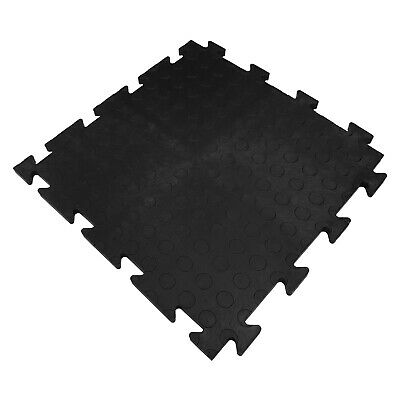 Studded Surface Black Garage Flooring Interlocking Vinyl / PVC Heavy Duty Tile