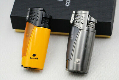 COHIBA Metal Windproof Cigar Cigarette 3 Torch Jet Flame Lighters W/Box Punch