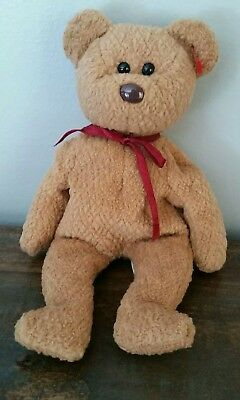 930884a7338 Ty Beanie Baby Curly Bear Rare 1993 With Tag Errors. Black Eyes Brown Nose