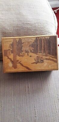 Wooden Treen Vintage Box Grizzly Bear Marquetry 6 X 4 Inch