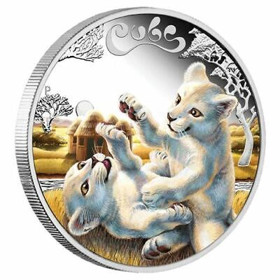 The Cubs White Lion cubs 50 Cent Silver Proof Coin Tuvalu mni