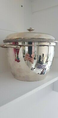 Garrard silver Plate Ice Bucket ceramic inlay missing