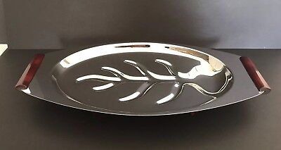 Vintage Stainless Steel Footed Meat Carving Tray Platter