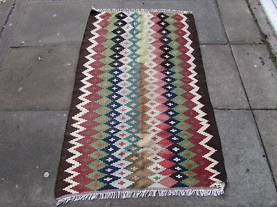 Old Traditional Hand Made Persian Oriental Wool Green Brown Kilim Rug 148x94cm