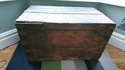 Vintage antique 19th century Jeffcoat brothers large wooden chest trunk