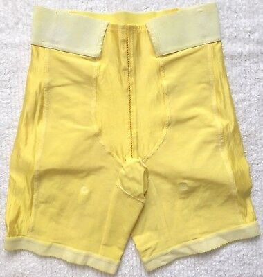 RARE Vintage *Size L* Custom Yellow Montgomery Ward Tight Girdle Shaper Garters