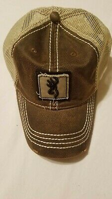 new concept 6bde0 4c033 Browning Hunting Brown Mesh Snapback Trucker Redneck Distressed Hat Cap