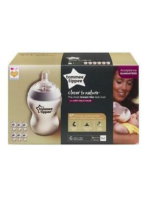 Tommee Tippee Closer to Nature Clear Anti-Colic Valve Baby Bottle 260ml 6 Pack