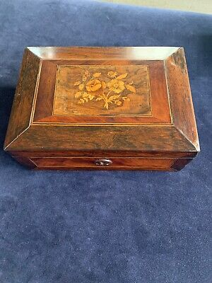 Beautiful Vintage Wooden Box with Inlaid Marquetry Veneer Sewing Box Or Jewels
