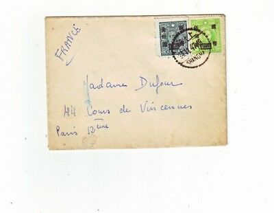 China Cover Shanghai - Paris France 24.11.1947.
