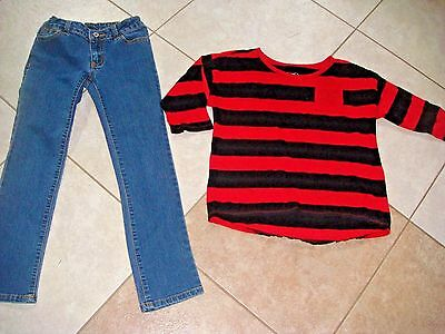 Faded Glory Justice jeans shirt top black red 7 8 girls clothes outfit set