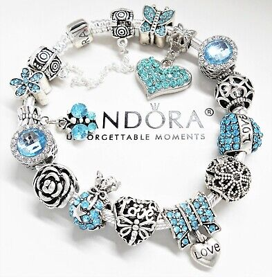 Authentic Pandora Silver Charm Bracelet With Crystal Love Heart European Beads.
