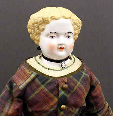 Large  Antique  China  Doll  With  Wonderful Outfit  &  Cameo