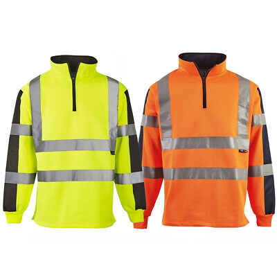 Hi Vis Viz Two Tone Rugby Shirt High Visibility Sweatshirt Safety Jumper Top