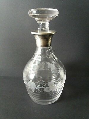 Antique authentic Asprey London sterling silver glass decanter 1922 complete