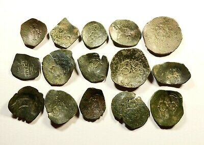 Lot Of 15 Ancient Byzantine Cup Coins - 055