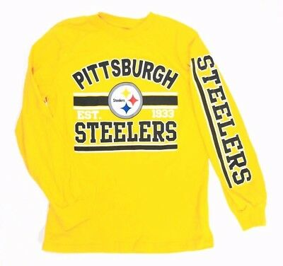 94276f312 Team Apparel Youth NFL Pittsburgh Steelers Long Sleeve T Shirt Yellow Medium