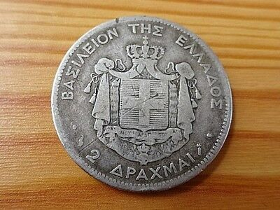 Greece Silver 2 Drachmai 1883 A King George I 1845-1913 AD Very Rare Coin.