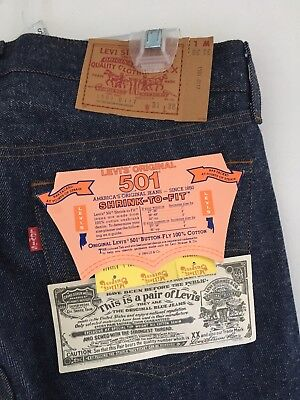 Vintage 1984 31/38 Levis 501 JEANS Button-Fly Post Redline No Big E Deadstock