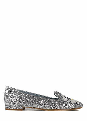 16ae37622d2e Chiara Ferragni Womens Silver Leather Glitter Flirting Slippers  IT35 US5~RTL 290