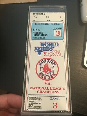 1986 World Series Ticket Fenway Park Boston Red Sox New York Mets