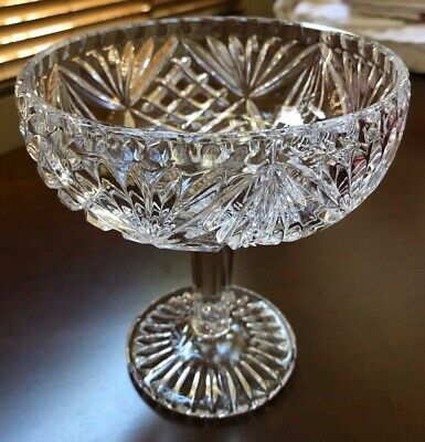 VTG Late Century Cut Crystal glass footed pedestal compote candy bowl dish