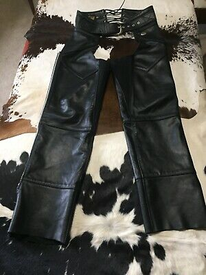 Harley Davidson Ladies Leather Chaps Size SX Made In USA Excellent Condition