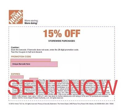ONE 1x Home Depot 15% Off-1coupon- In Store Only -saving 200$ max 3/4/19