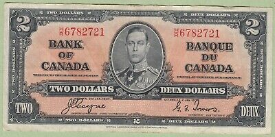 1937 Bank of Canada 2 Dollar Note - Coyne/Towers - H/R6782721 - VF