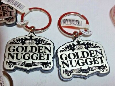 Golden Nugget Hotel Casino Las Vegas Atlantic City Silver Black Keychain + Bonus