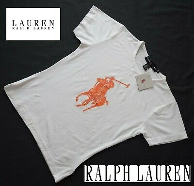 NEU Original Damen T-Shirt Shirt RALPH LAUREN SLIM FIT Gr. L / G Weiss POLO LOGO