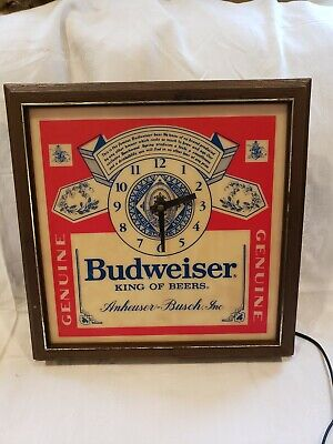Vintage 60's/70's Budweiser Wall Clock With Light