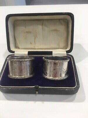 Pair Antique Sterling Silver Napkin Rings Cased